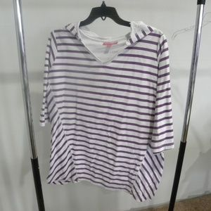 Purple striped 3/4 sleeved hooded tunic